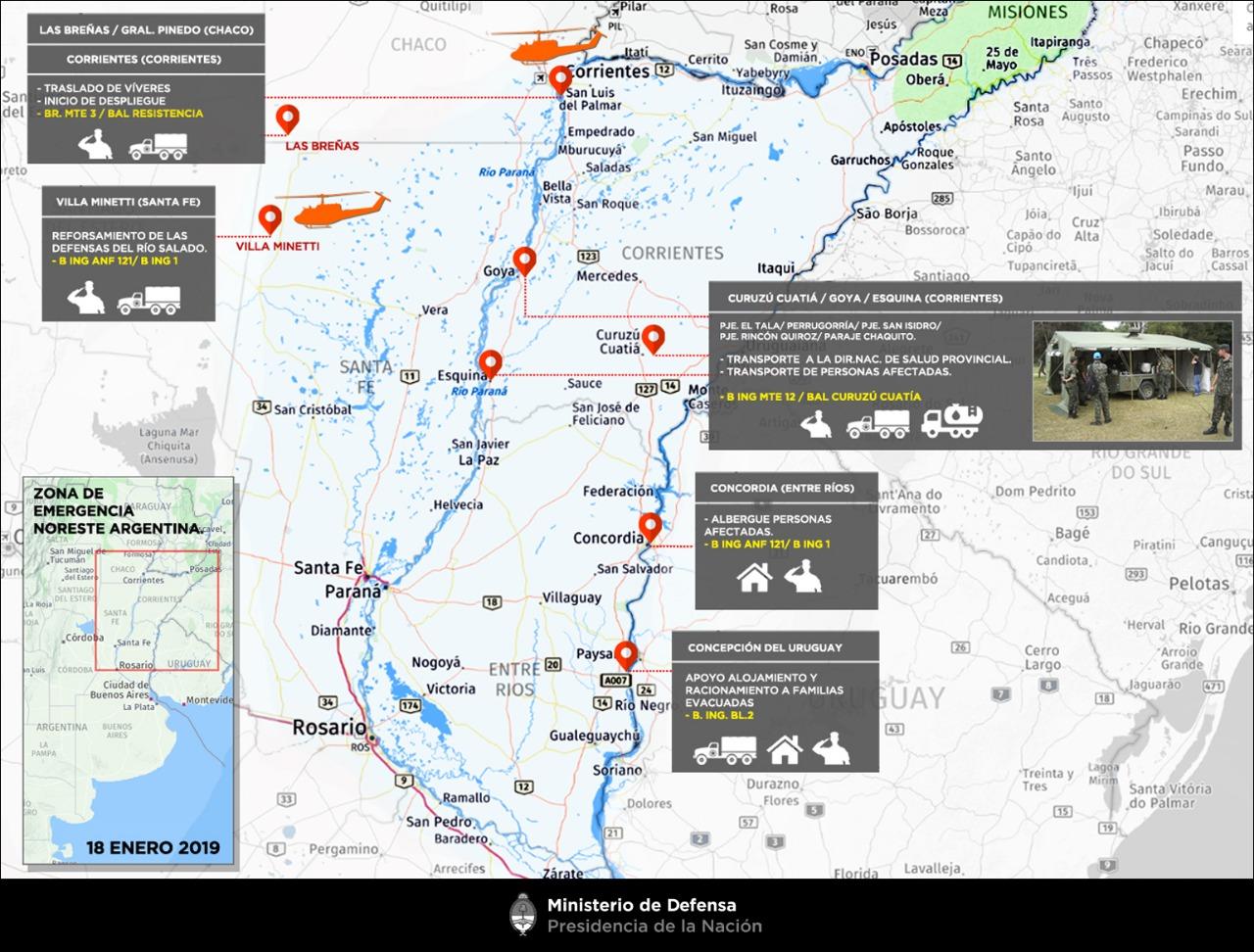 Mapa de las zonas de emergencia
