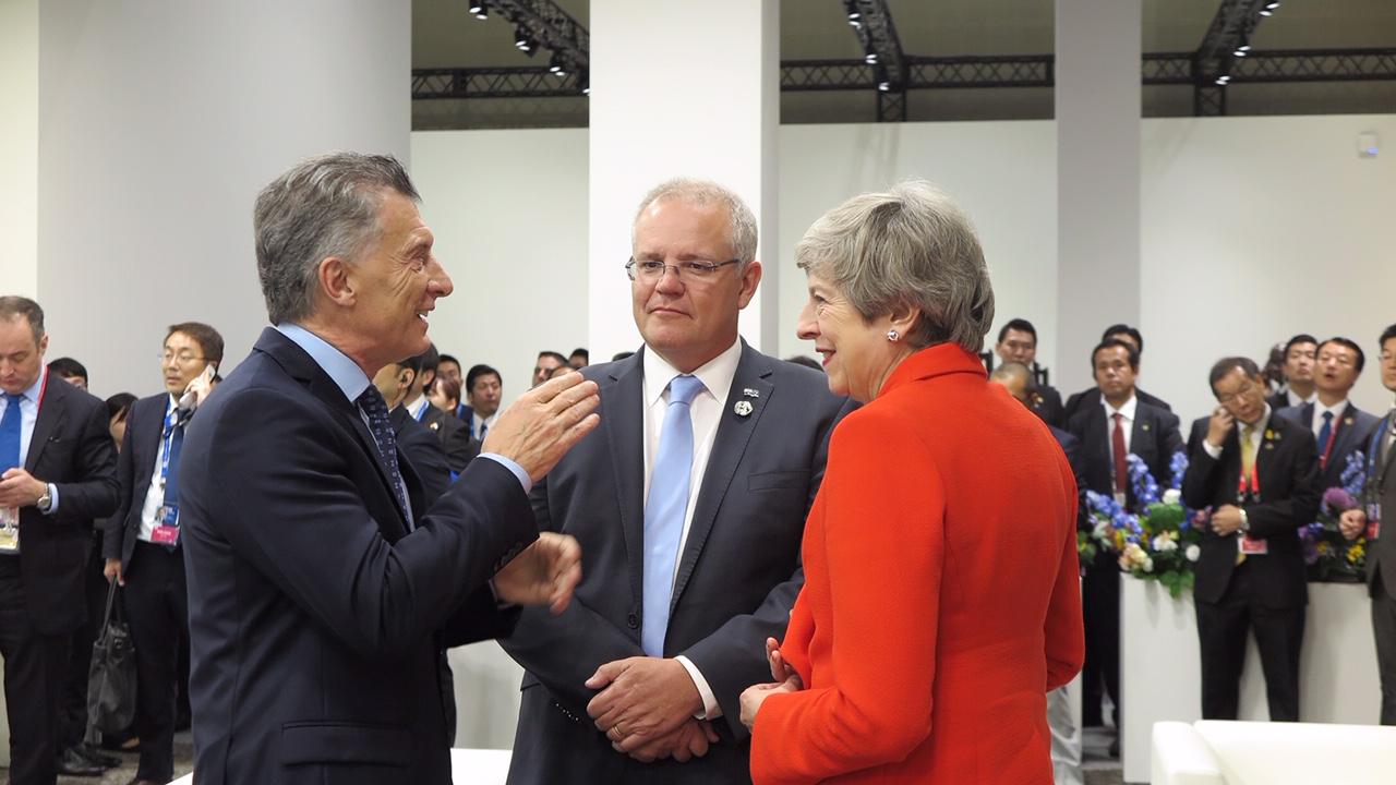 Macri con Scott Morrison y Theresa May