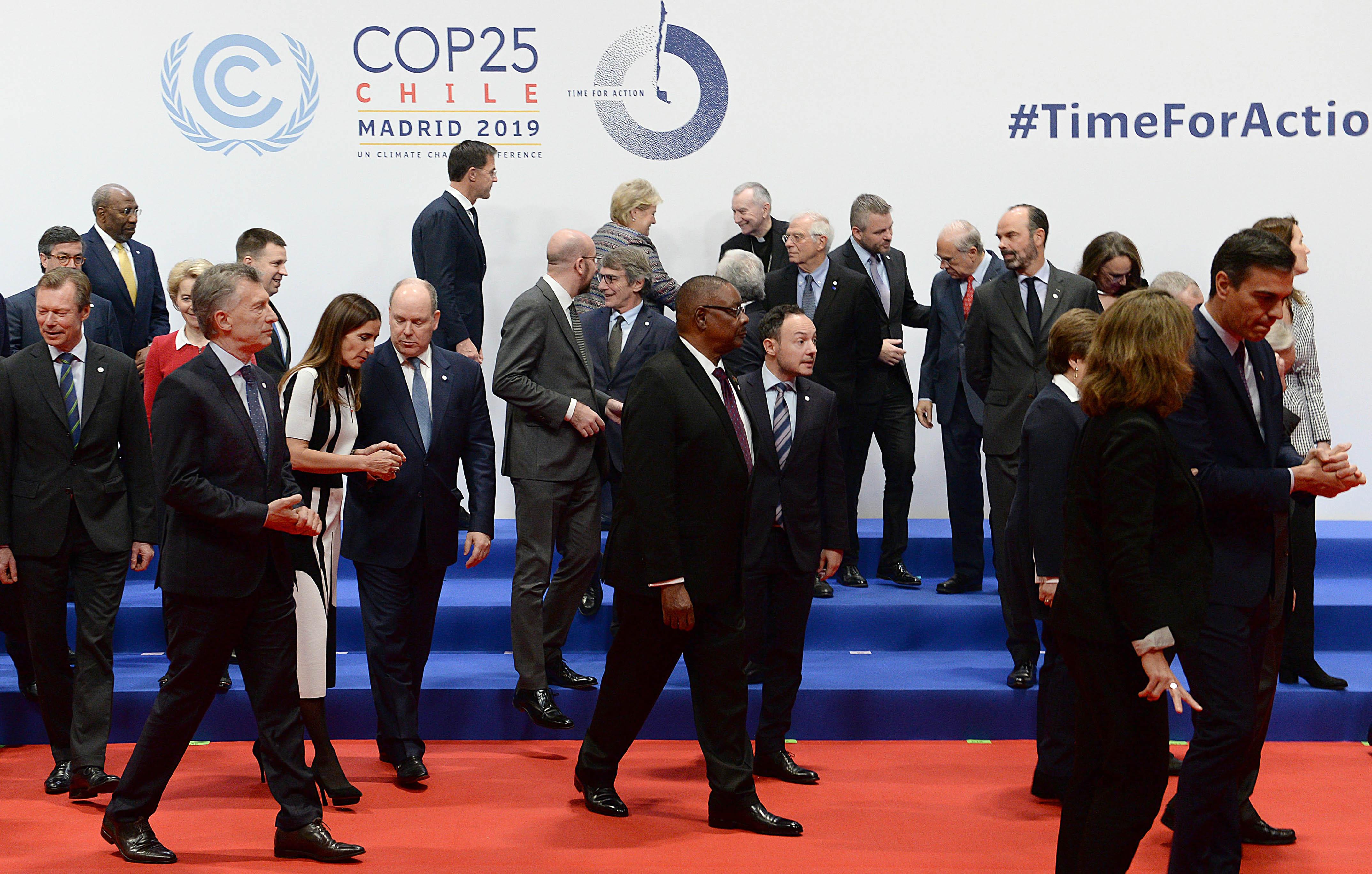 El Presidente Mauricio Macri junto a los representantes de otros países que participan de la XXV Conferencia de Naciones Unidas sobre el Cambio Climático.