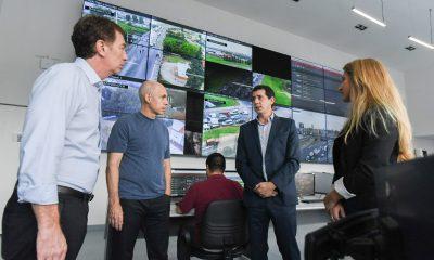 Rodríguez Larreta, Santilli y Wado de Pedro visitaron el Centro de Monitoreo Urbano Norte.